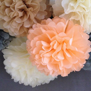 "5 x Tissue Paper Pompoms - Wedding Pom Poms, Paper Pompom, Tissue Pompoms, Baby Shower, Nursery Decor, Party Decoration 12"", 14"", 18"""