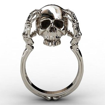 New Punk Style Ghost Evil Skull Skeleton Hand Ring For Women Men Motor Biker Ring Party Accessories Jewelry Gift
