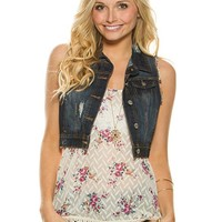 Destructed Cropped Denim Vest