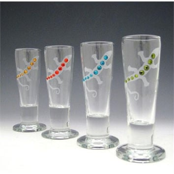 4 Etched Shot Glasses - Sandblasted