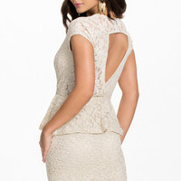 V Neckline Ivory Lace Peplum Dress with Cut Out Back