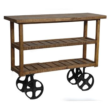 Bengal Manor Mango Wood Industrial Cart By Crestview Collection Cvfnr302