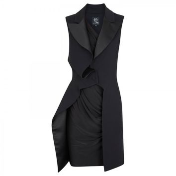 Coat overlay stretch wool blend dress