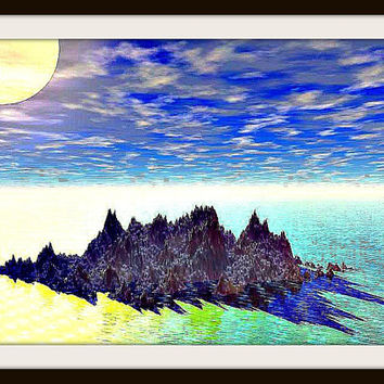 "Sunset over Galapagos A'Nena  40"" x 60""A'Nena Jewelry Original Print"