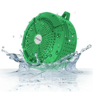 Photive Rain WaterProof Portable Bluetooth Shower speaker. Rugged Wireless Outdoor/Shower Speaker with Built in Microphone - Green