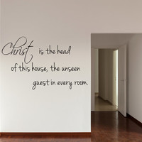 Religious Wall Decal Decor Quote Art Quotes Christ is the head of this house