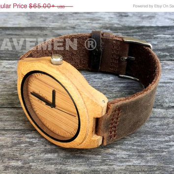 SALE Wood Watch. Mens Watch. Engrve Watch. Personalized Watch. TJ01