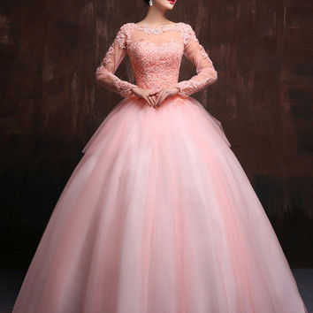 Modest Blush Pink Long Sleeves Quinceanera Ball Gown Prom Dress Home Coming Dress Sweet Sixteen Dress X023