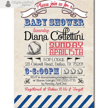 Baseball Baby Shower Invitation Vintage Retro Boy Girl Baby Shower Red Blue Custom Colors Available DIY Printable or Printed - Diana Style