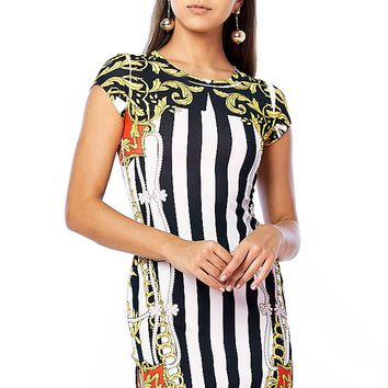 Referee Striped Chain Mini Dress