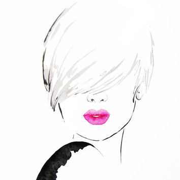 Pink lips - black ink Women portrait - Art Print Fashion Illustration
