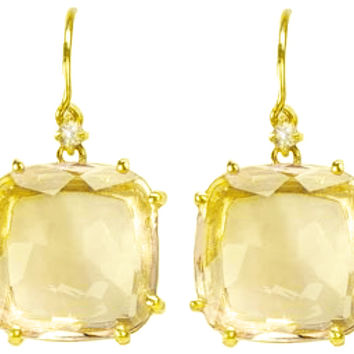 Suzanne Kalan The Classics 16mm Cushion Cut Lemon Quartz Drop Earring