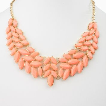 Peach Enamel Leaf Bib Statement Neckalce/Earring Set