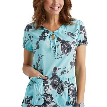 Koi Brittany Shadow Rose keyhole print scrub top.