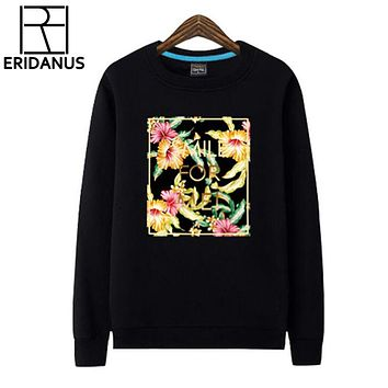 Autumn Cotton Hoodies Floral Printed Sweatshirt Men Hip Hop Couples Fleece Hedging Fashion Casual Women Hoodie