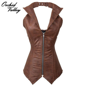 Brown Vintage Zipper Overbust Leather Steel Bone Waist Training Corsets Vest And Bustiers Tops Body Shaper Steampunk Clothing