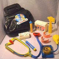 Vintage 1987 Fisher Price Children's 10 Piece Doctor's Kit, Kid's Toy, Vintage Doctor's Kit Toy, Children's Educational Toy