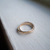 Interlocked Faceted Stacking Rings Gold fill and Sterling Silver - custom made to size