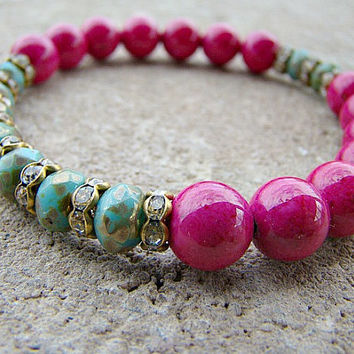 Gemstone Stretch Bracelet, Pink, Beaded Stackable Bracelets, Boho Chic, Stacking Bracelet, Stretch Bracelet, Elastic Beaded Bracelet, Stone