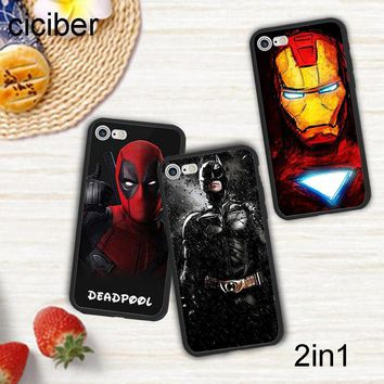 Batman Dark Knight gift Christmas ciciber DC Marvel Spider-Man Batman Deadpool Iron Man Phone Case Cover For iPhone 7 8 6 Plus X Silicone Hard PC Hybrid Fundas AT_71_6