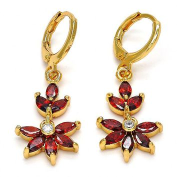 Gold Layered 02.221.0017 Long Earring, Flower Design, with Garnet and White Cubic Zirconia, Polished Finish, Golden Tone