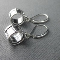 Drum earrings sterling silver lever back marching band student jewelry