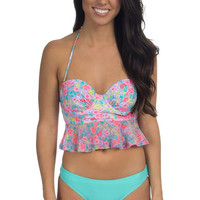 Floral Peplum Bandeau Bikini Top – Lauren James