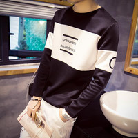 2015 Autumn Winter Long Sleeve Tshirt Homme Mens Print Casual Rock Sport T-shirt Street Dance Hip Hop Skateboard T Shirt Men 6XL