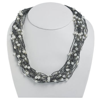 Black Threaded Cord Multi Strand Freshwater Pearl Necklace - 16 Inches