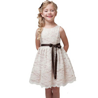 summer new children's clothes girls sleeveless bow belt beautiful lace dress solid baby girls teenager clothes for 4 to 10 Kids