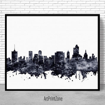 Tulsa Print, Tulsa Skyline, Tulsa Oklahoma, City Wall Art, Office Decor, City Skyline Prints, Skyline Art, Office Poster, ArtPrintZone