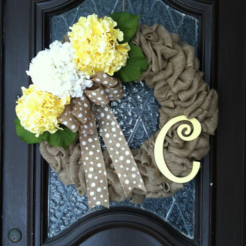 Spring Wreath, Hydrangea Wreath, Burlap Yellow Spring Wreath, Personalized Spring Wreath, Easter Wreath, Spring Burap Hydrangea Wreath