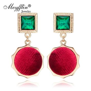 Meyfflin Gold Color Drop Earrings Brincos Fashion Geometric Flanne Crystal Earrings for Women Jewelry Dangle Earrings 2018