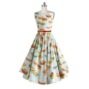 Women Ladies Sleeveless Cute Retro 50s Pinup Swing Dress 60s Vintage Rockabilly 3D Cake Print Casual Party Dresses Plus Size