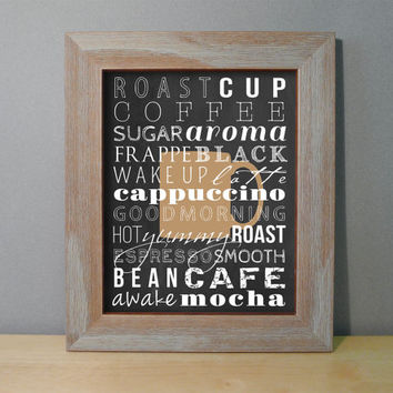 Coffee Print Subway Art - Coffee Kitchen Sign Typography Print / Espresso Cappuccino Wall Art / Coffee Words - Chalkboard Look 8x10 or 11x14