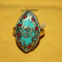Nepalese Tibetan Coral ring Turquoise Ring Tibetan Ring Nepal Ring Tibet ring Tribal Ring Statement Ring Tibetan beaded Ring R749