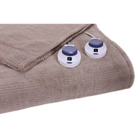 King Size Ribbed Warming Electric Heated Blanket in Beige