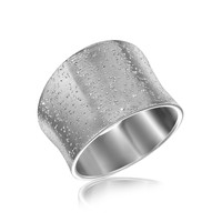 Sterling Silver Stardust Textured Rhodium Plated Concave Ring: Size 8