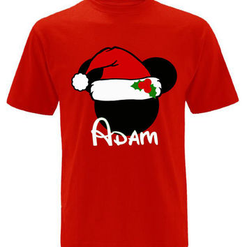 Christmas SANTA Mickey Mouse Personalized T-shirt with Name - Holiday shirt, Party shirt, Disney tripMinnie Mouse