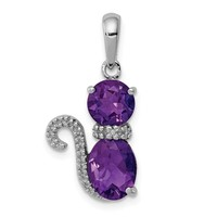 Sterling Silver Amethyst And Diamond Cat Pendant