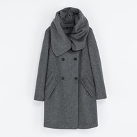 WOOL COAT WITH WRAP AROUND COLLAR