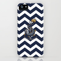 CHEVRON - Stay Anchored - Navy Blue iPhone & iPod Case by Belle13