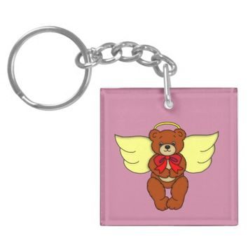 Teddy Bear Angel Front and Backside Art Graphic Keychain