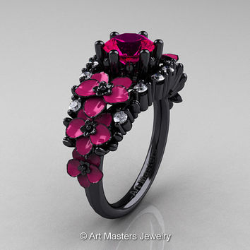 Nature Classic 14K Black Gold 1.0 Ct Rose Ruby Diamond Pink Orchid Engagement Ring R604-14KBGDPRR