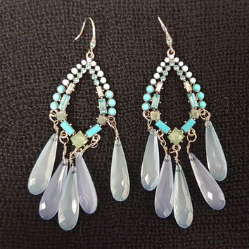 Chandelier Dangle Earrings, Gypsy Dangle Hoop Earrings with Turquoise and Powder Blue Beads and Fish Hook Closure