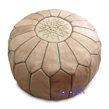 Natural Tan Moroccan Leather Pouf/Ottoman- Sold UN-STUFFED