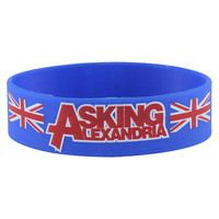 Rokk Bands Blokes blue wristband, Asking Alexandria merch, band wristband UK