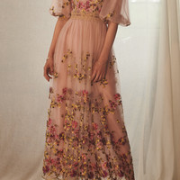 Bishop Sleeve Embroidered Tulle Dress | Moda Operandi