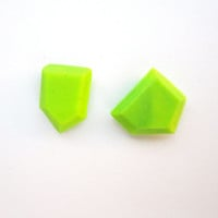 Bright Green Earrings, Geometric Earrings, Neon Green Studs, Bold Earrings, Facet Earrings, Mismatch Earrings Modern Sterling Silver Jewelry