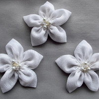 White Striped Chiffon Flowers Handmade Appliques Embellishments(3 pcs)